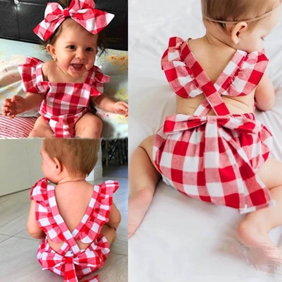 7f8ee5ce70ce RESTOCK Baby Girl Red Checkered Romper   Bow